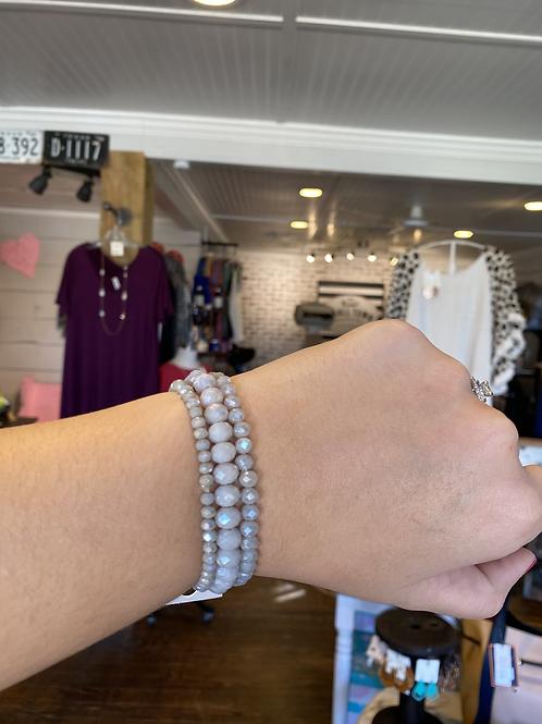 Grey Beaded Bracelets (Set of 3)