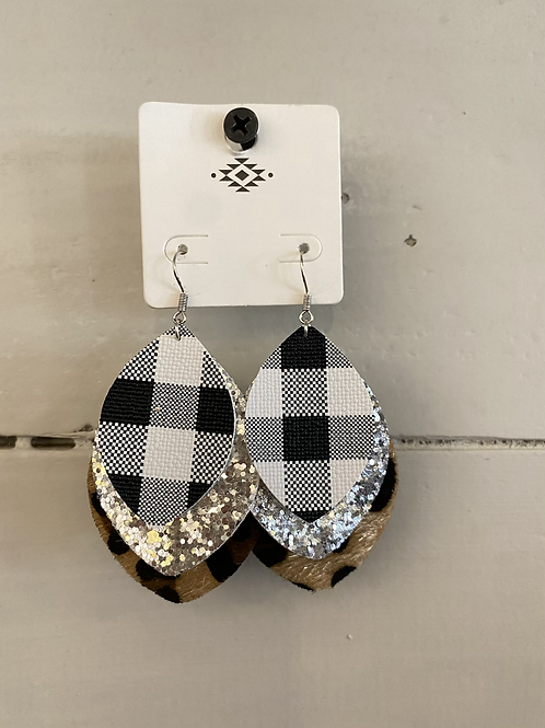 Buffalo Plaid and Leopard Felt Earrings