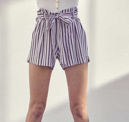 Crepe Tie Stripe Shorts