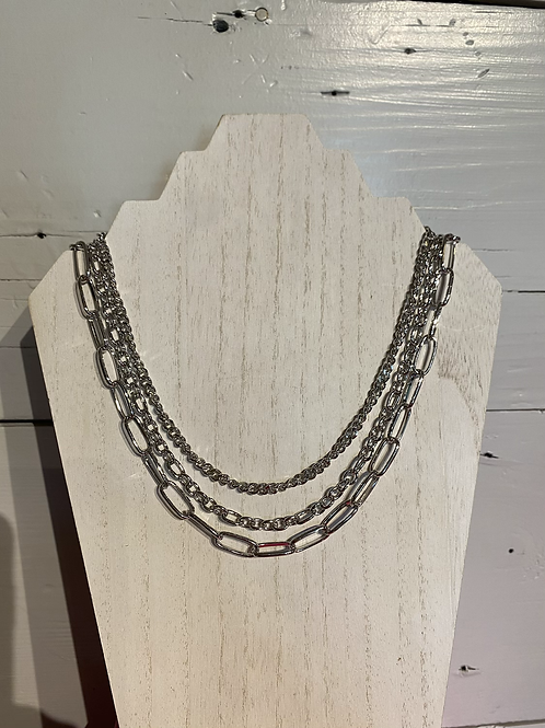 Silver Chunky Necklace Set