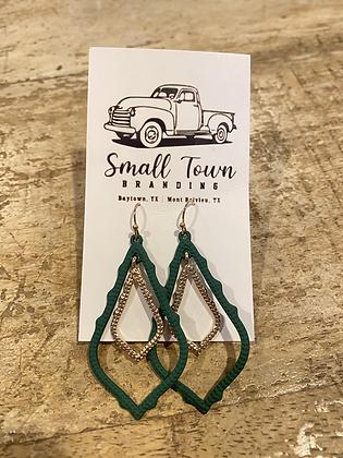 Green Double Frame Earrings