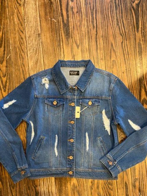 Distressed Medium Wash Blue Jean Jacket