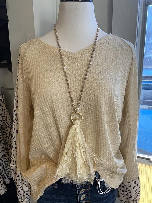 Cream Tassel Necklace