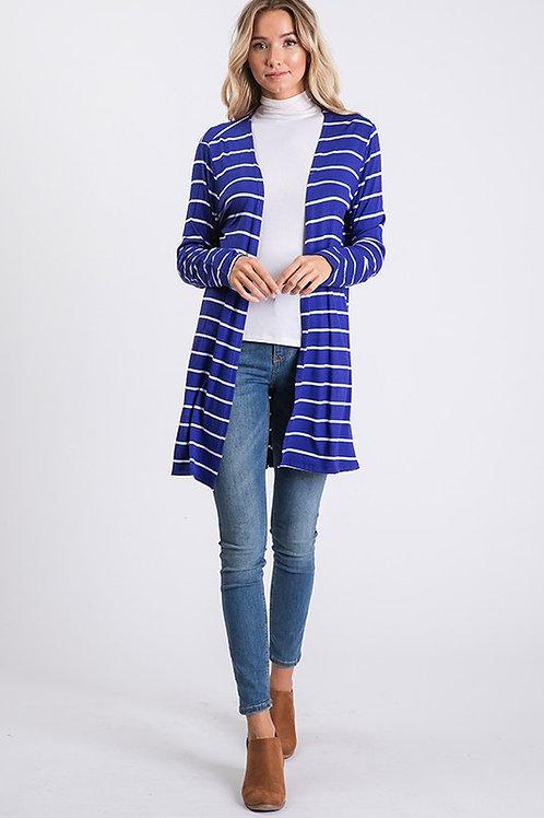 Striped Mid Length Cardigan