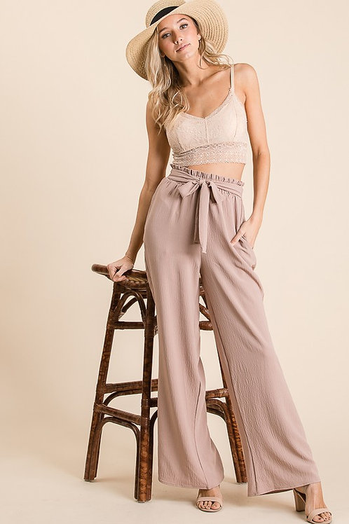 Wide Leg Taupe Pants