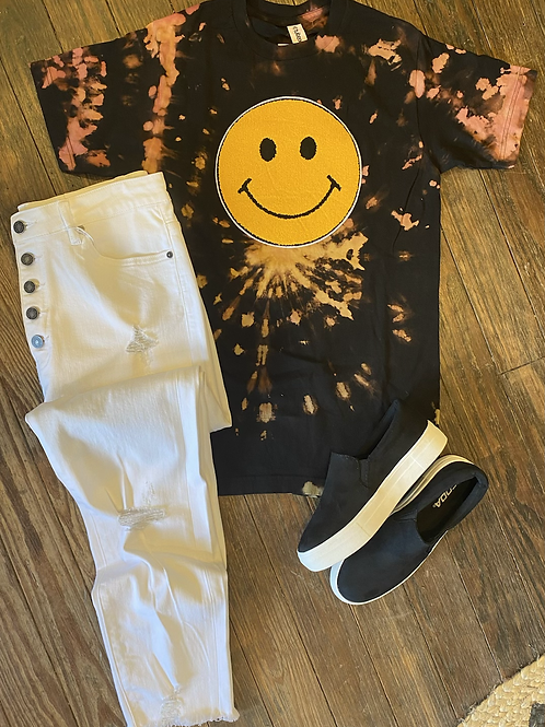 Bleached Smiley Face Tee