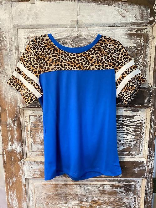 Blue/Leopard Jersey Top