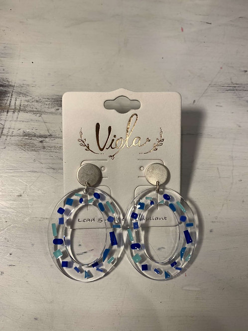 Clear W/ Blue Dangles