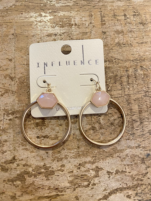 Light Pink Stone Hoops