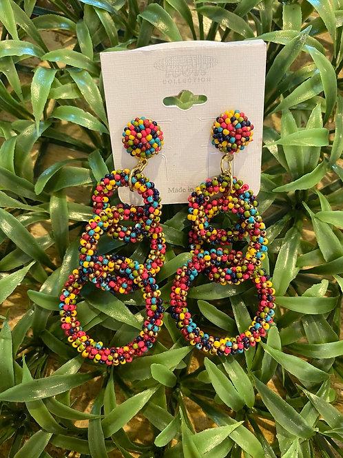 Mingled Tri-Circle Earrings