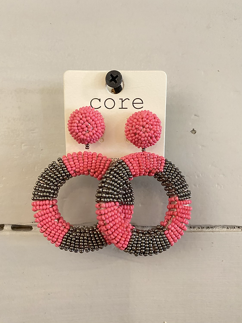 Pink/Grey Beaded Hoops