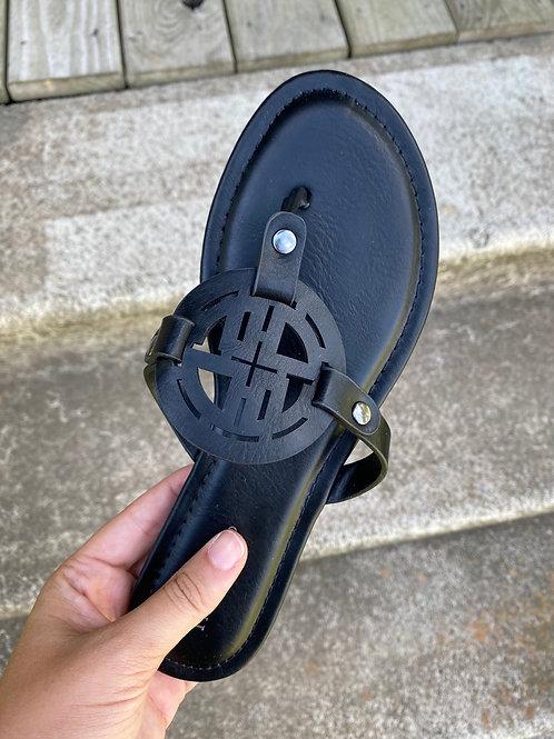 Black Medallion Sandal