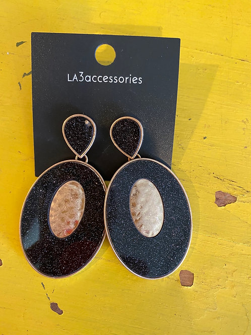 Black/Gold Shimmer Earrings