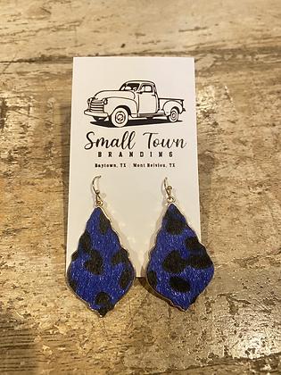 Blue Leopard Earrings