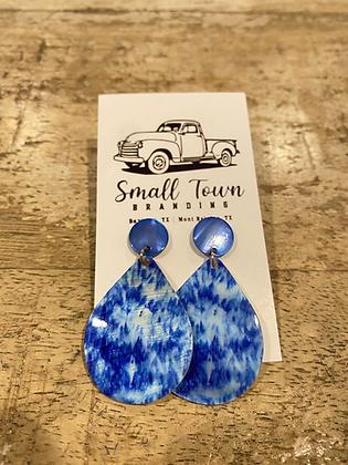 Blue Dye Stud Earrings