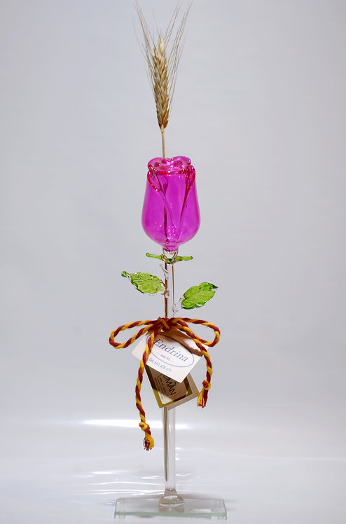 Rosa rosa en vidrio soplado