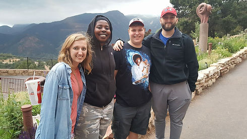 Youth and leaders in Colorado Springs on a youth trip