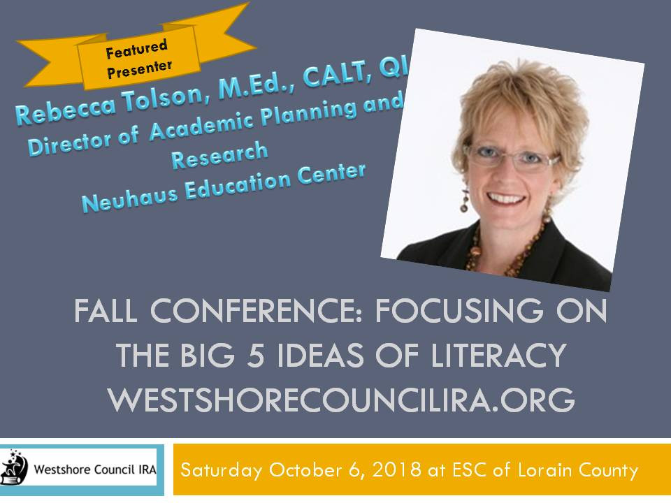 Hold Saturday October 6, 2018 for Fall Conference.