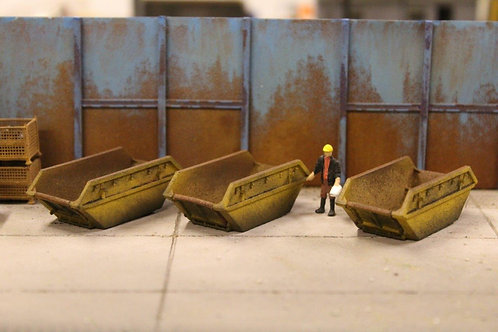 3 x Yellow Builders Skips (Painted & Weathered)