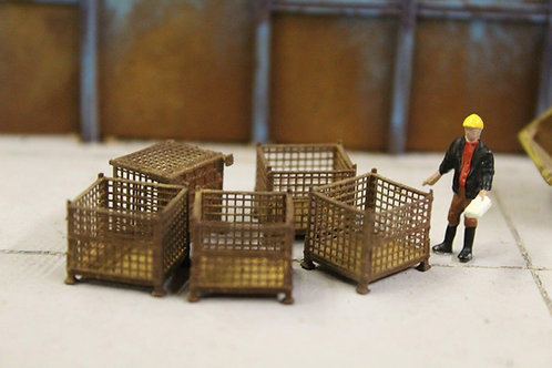 5 x Brown Rusty Mesh Stillage Containers