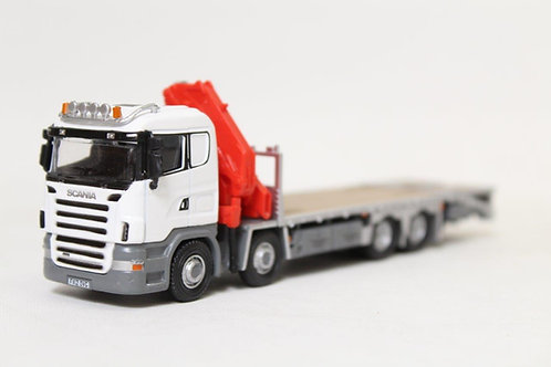 Oxford White Flat Bed Lorry with Hiab Crane OO Gauge (Q18)