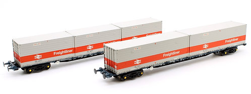 Bachmann 38-625FGA BR Freightliner Outer Container Flats (X2) ISO Containers