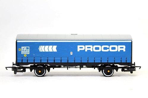 Hornby R216 'PROCOR' Closed Curtainside Van Wagon OO Gauge 1/76 E17