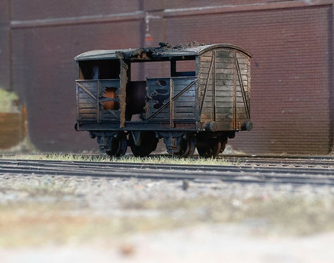 Fire Damaged Cattle Freight Wagon (B3)
