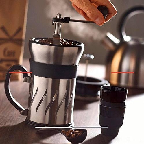 Koffiemolen en cafetiere met zuiger in een 15 cm