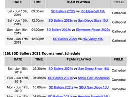 [15U/16U] Tournament Schedule for Prospect Wire San Diego Invitational Posted