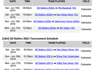 [15U/16U] Tournament Schedule for Prospect Wire San Diego Invitational Posted