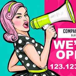Megaphone We're Open
