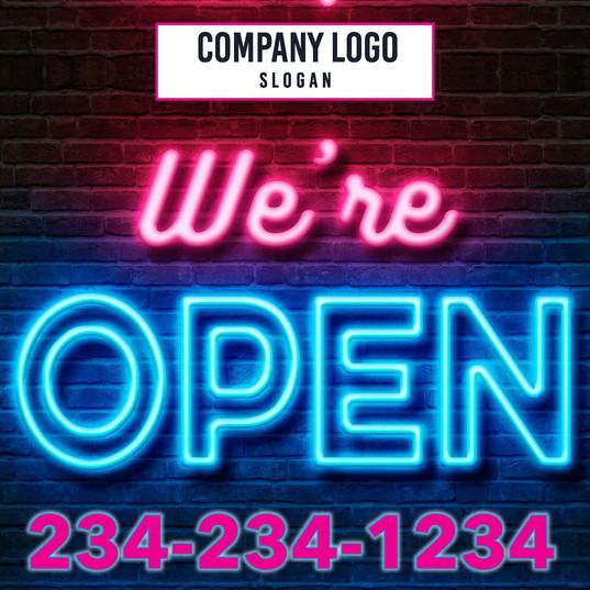 Neon We're Open