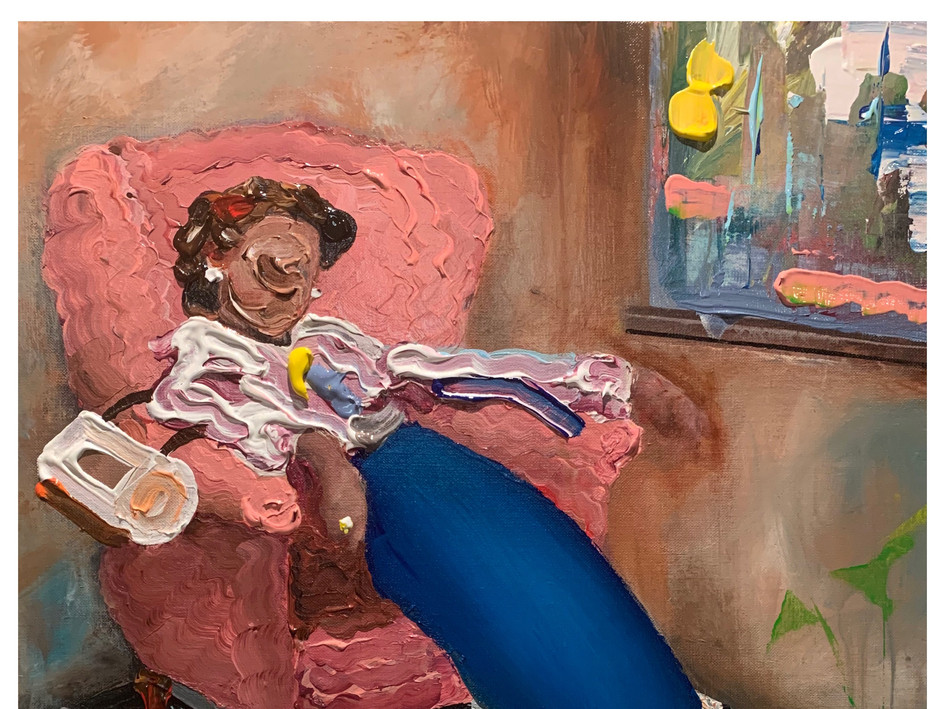 Woman in pink chair