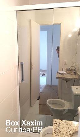 box para banheiro vidro incolor pelicula adesiva espelhado com perfil trilho quadrado branco curitiba
