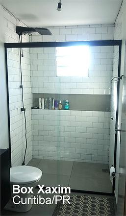 box para banheiro vidro incolor com perfil trilho quadrado preto curitiba