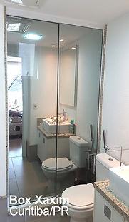 box de banheiro vidro espelhado temperado perfil trilho quadrado branco curitiba