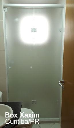 box para banheiro articulado sanfonado vidro incolor com pelicula adesiva jateado curitiba