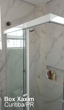 box para banheiro de canto vidro incolor com perfil trilho quadrado branco curitiba