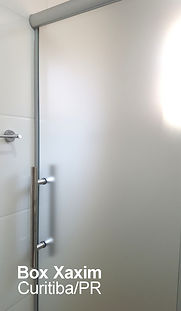 box de banheiro vidro incolor com pelicula adesiva jateado perfil trilho redondo curitiba