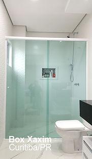 box vidro temperado verde com perfil trilho redondo branco curitiba