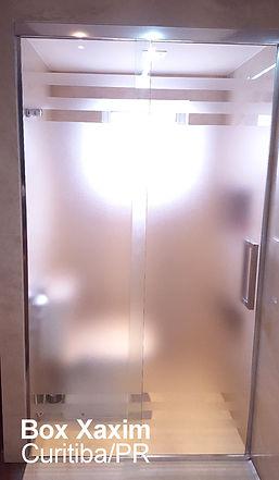 box para banheiro vidro incolor pelicula adesiva jaetado com perfil trilho quadrado cromado curitiba