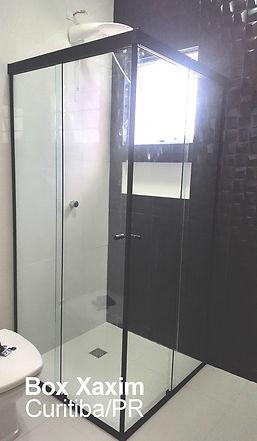 box para banheiro de canto vidro incolor com perfil trilho quadrado preto curitiba