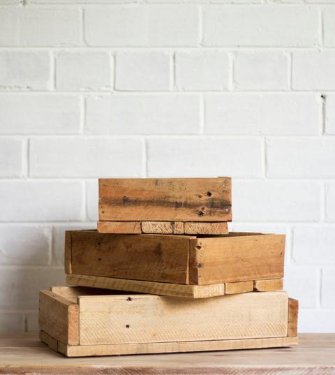 Rough Wooden Boxes, set of 5 (R100)