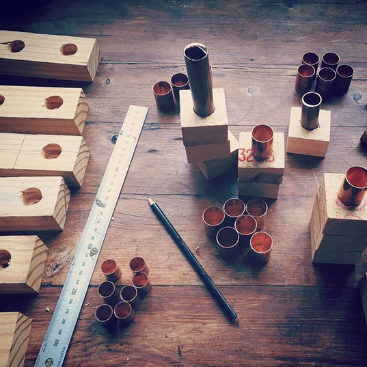 Black and Copper Block Candle Sticks, set of 4 (R40)