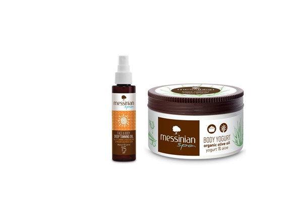 Huile de bronzage profonde 3en1 SPF 15 & Crème après solaire Aloé vera & Yaourt