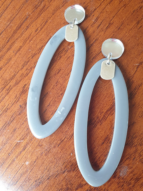 Long Flat Oval with Tag Earrings