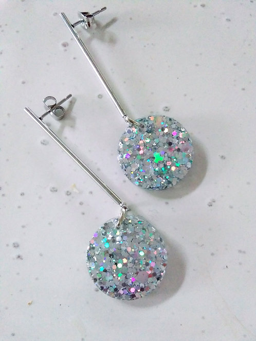 Disc on Drop Earrings