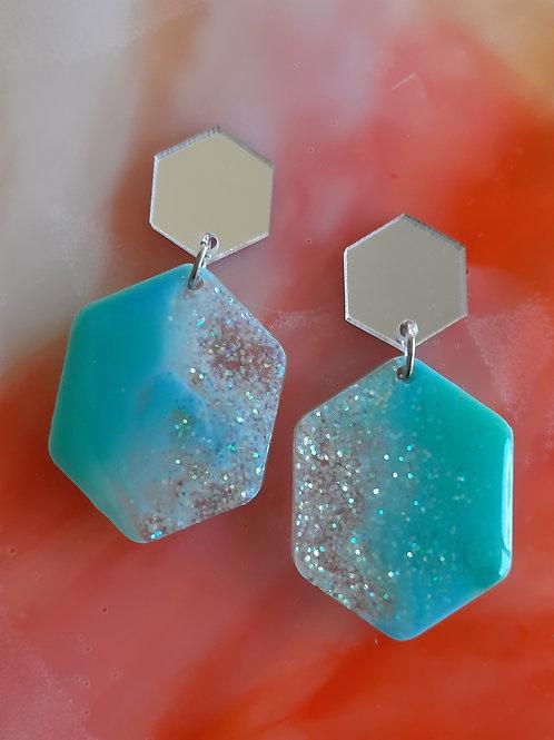 Hexagon Resin Earrings