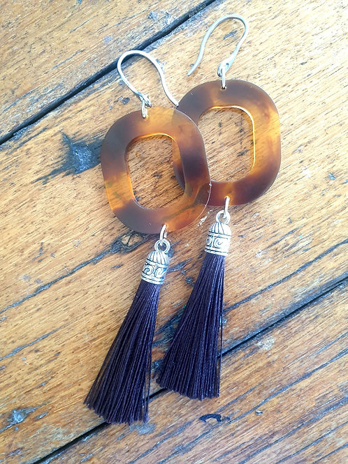 Square Oval Tassel Earrings - Tortoise Shell